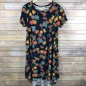 uLaRoe Carly Size XS Blue Flowers Shift Dress